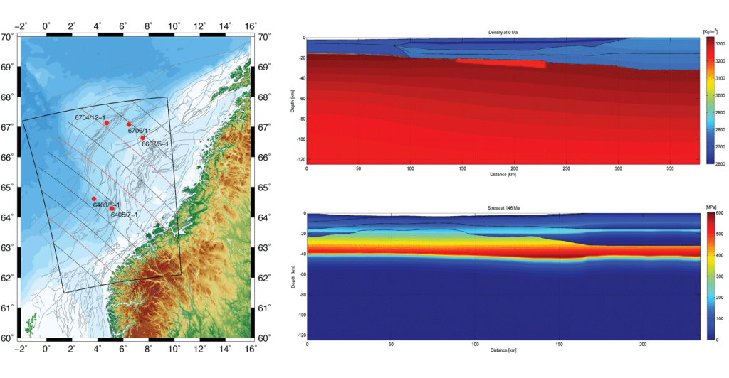 The map shows the study region along with the structural elements of Norwegian margin and the location of the multi-slice transects. Five wells were used for the thermal calibration of the models. Low-density serpentine underplates formed upon crustal embrittlement.